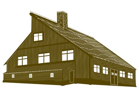 tatras: Silhouette of a wooden mountain lodge in one color. Illustration