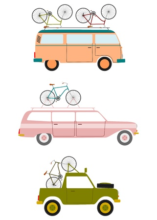 transporting: Colorful silhouettes in retro style cars transporting bicycles on a white background. Illustration