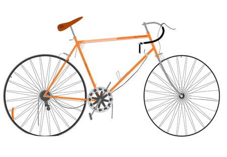 Old broken racing bike on a white background. Vector