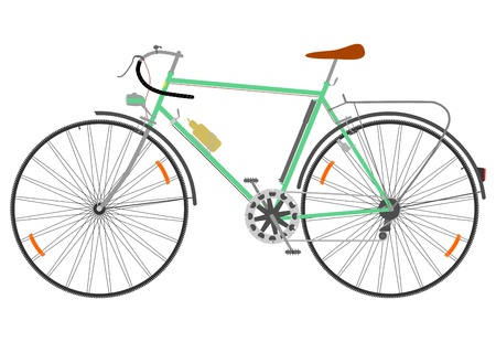Side view of a retro road bike on a white background.