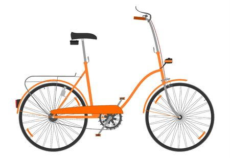 Side view of a small folding bicycle on a white background. Stock Vector - 18654518