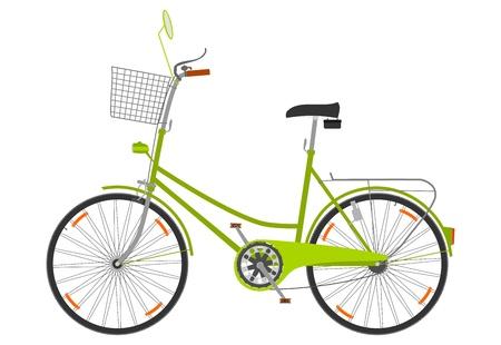 白い背景の上のバスケットと自転車。