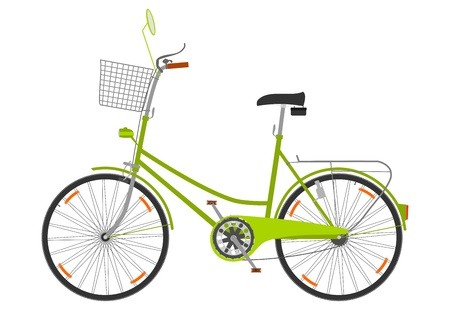 A bicycle with a basket on a white background.