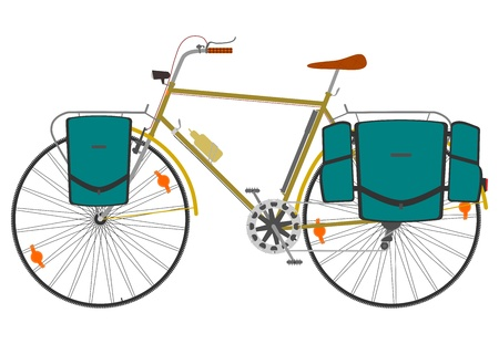 Road touring bike with saddlebags on a white background.