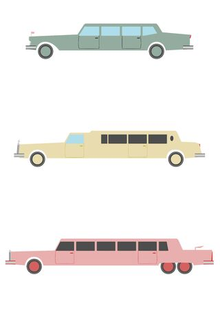 limo: A set of silhouettes of long limousines in retro style on a white background.