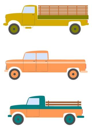 pickups: Pickup americani in stile retr� su uno sfondo bianco. Vettoriali