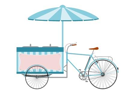 白い背景の上のアイスクリーム自転車のシルエットの側面図です。
