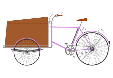 Rickshaw for transport of goods with a wooden crate. Vector
