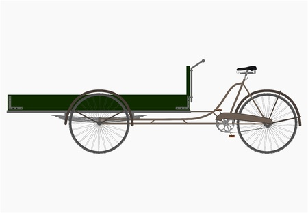 The three-wheeled utility bicycle in retro style on a white background. Vectores