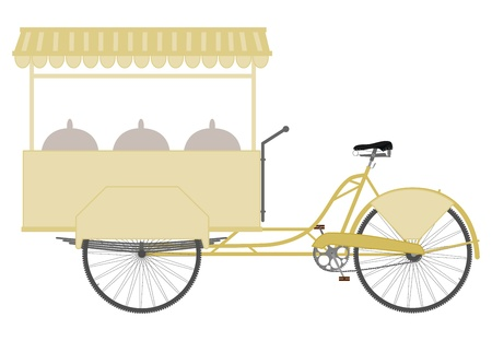 The three-wheeled utility bicycle to sell food in a retro style on a white background. Stock Vector - 18756351