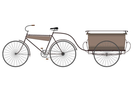 Silhouette of an old bicycle with a trailer on a white background. Illustration