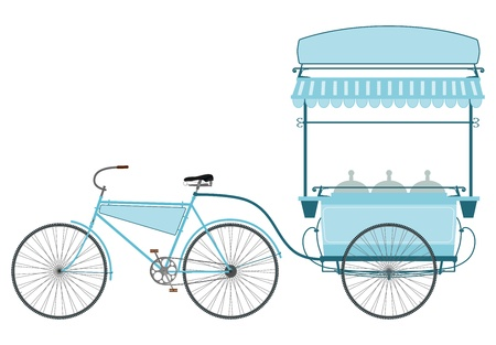 Ice cream retro bicicleta sobre un fondo blanco. Foto de archivo - 18855231