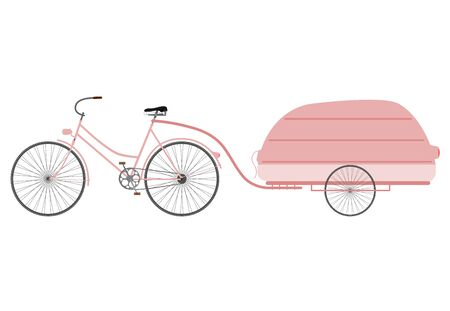 Ladies retro bike with aerodynamic trailer on a white background. Vector