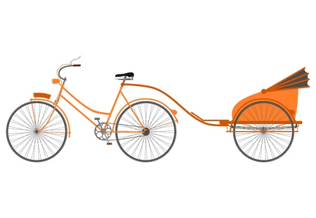 Rickshaw-bike with a trolley to carry passengers on a white background  Vector