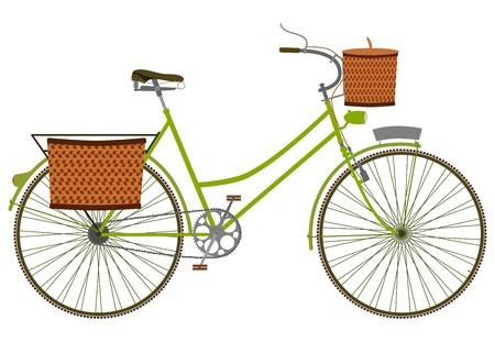 košík: Silueta klasické dámské kolo s proutěném koši na bílém pozadí. Ilustrace
