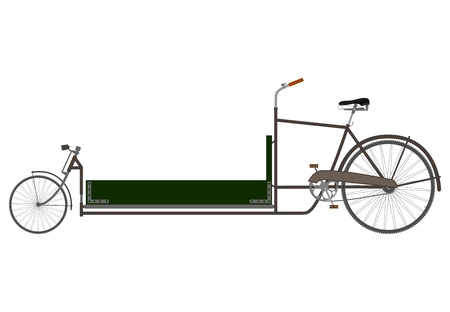 Silhouette of an old cargo bike on a white background. Vector