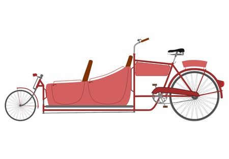 Silhouette of an old recumbent bicycle to transport people. Vector