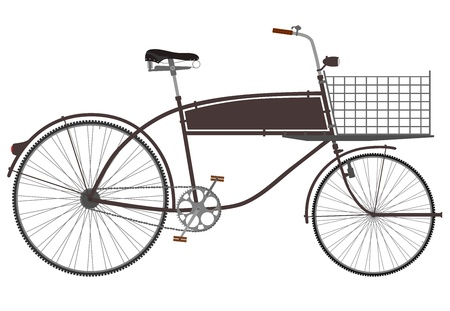 Silhouette of an old cycle truck on a white background  Vector