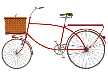 Silhouette of an old bicycle with a wicker basket on a white background  Vector