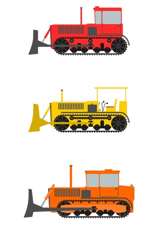 Set of three retro crawler bulldozer on a white background. Vector