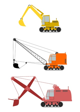 Set of three retro excavators on tracks on a white background. Illustration