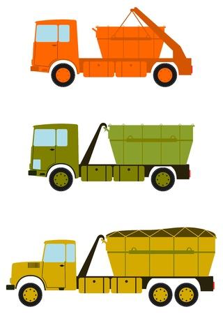 Eine Reihe von Bau-LKW mit Container für Schutt auf dem weißen Hintergrund.
