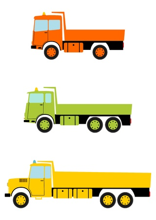 powerfull: Colourful truck tipper in retro style on a white background.