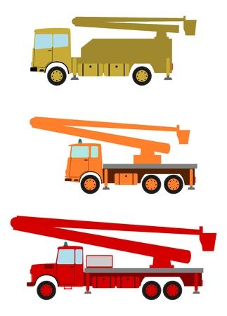 hydraulic platform: Plataformas de trabajo elevadas coloridos, camiones de cubo en el estilo retro sobre un fondo blanco.
