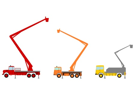utilities: Colourful elevated work platforms, bucket trucks in retro style on a white background. Illustration