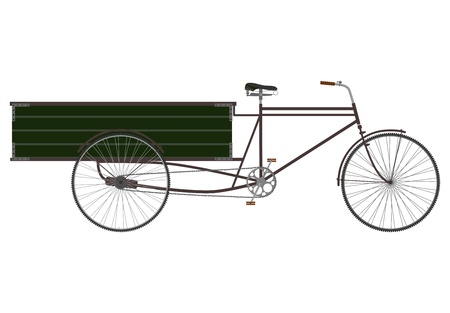 Side view at the silhouette of an empty bicycle rickshaw. Vector