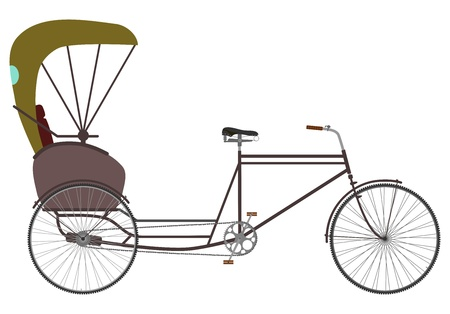Side view at the silhouette of an empty bicycle rickshaw. Vectores