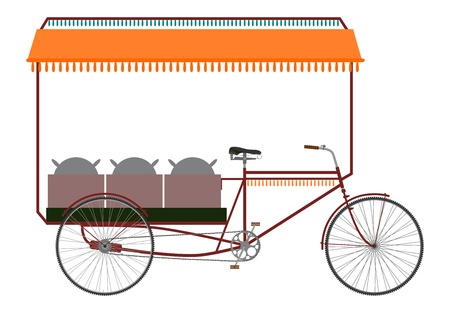 Carrier bicycle rickshaw silhouette on a white background. Vector