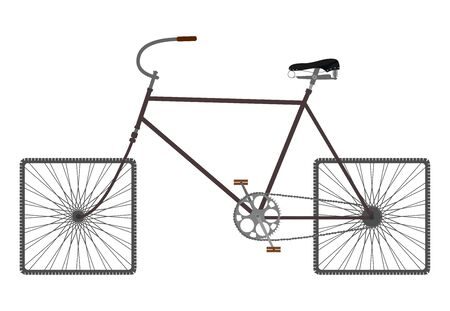 Silhouette of an old bicycle on square wheels. Vector