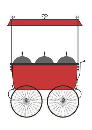 carretto gelati: Silhouette di venditori carrello su uno sfondo bianco