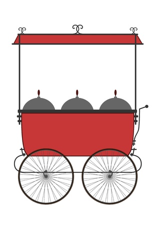 Silhouette of vendors cart on a white background   Vector