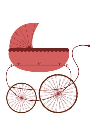 day nursery: Silhouette of retro stroller on a white background