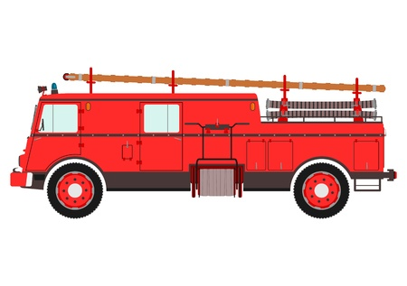 fire place: Retro fire truck on a white background. Place for any text.