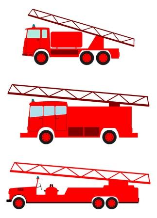 bombero de rojo: Cami�n de bomberos retro sobre un fondo blanco. Lugar para el texto.