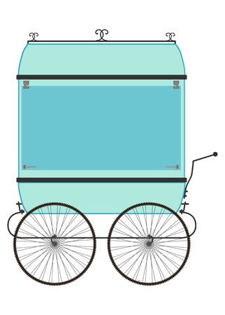 Silhouette of vendors cart on a white background. Space for your own text.