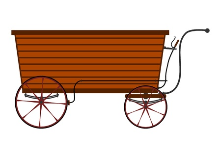 Wooden vendors cart in retro style on a white background