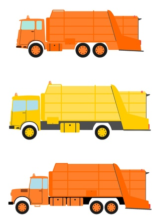 worksite: Garbage truck in retro style on a white background. Illustration