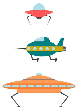 UFO set in retro style on a white background. Illustration