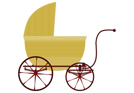 buggy: Wicker baby carriage in retro style on a white background.
