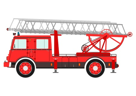 brigade: Retro fire truck with a ladder on a white background. Illustration