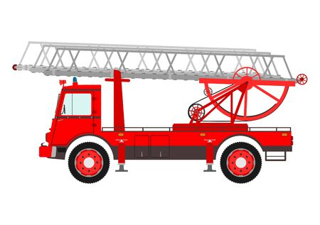 antique fire truck: Retro fire truck with a ladder on a white background. Illustration