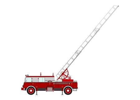 Retro fire truck with a ladder fanned on a white background.