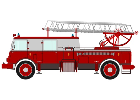 Retro fire truck with a ladder on a white background. Vector