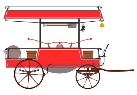 pumper: Retro fire pumper on a white background. Illustration