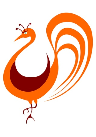 Folk bird in oriental style in two colors on a white background. Vector