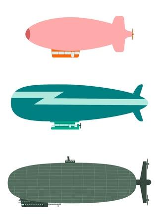 Set of retro airships on a white background.